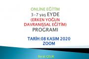 3-7 yaş EYDE(Erken Yoğun Davranışsal Eğitim Programı)-Online Eğitim(Zoom)